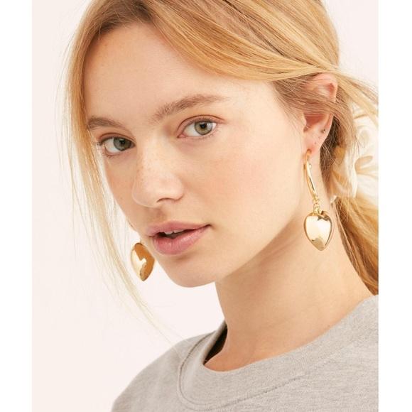 Free People Jewelry - Free People Back To You Chunky Heart Hoop Earrings